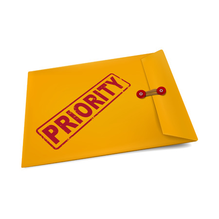 weighty: priority on manila envelope isolated on white