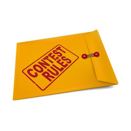 vying: contest rules on manila envelope isolated on white