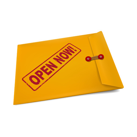 crucial: open now on manila envelope isolated on white