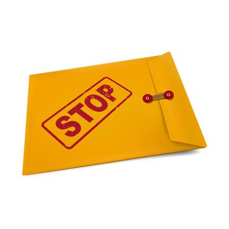 adversaire: s'arr�ter sur enveloppe en papier kraft isol� sur blanc
