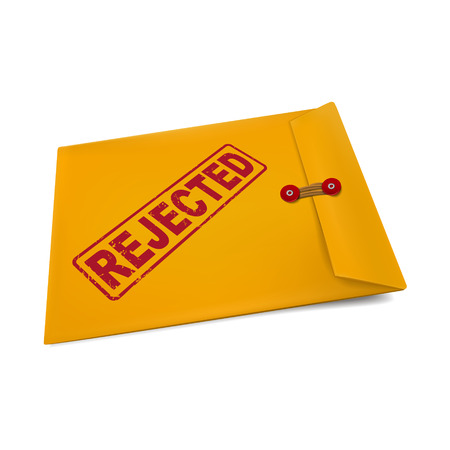 exclude: rejected stamp on manila envelope isolated on white Illustration