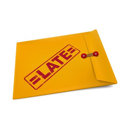 owe: late stamp on manila envelope isolated on white Illustration