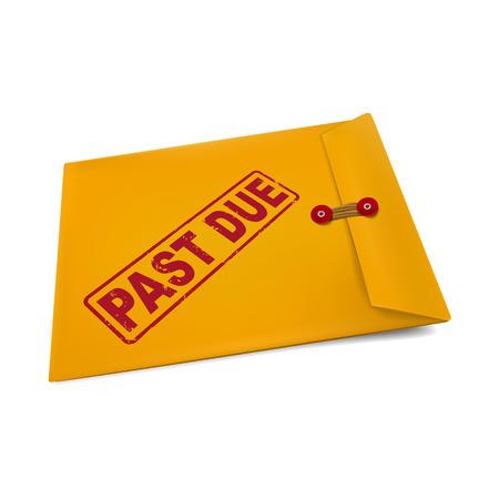 passado: passado devido carimbo no envelope pardo isolado no branco