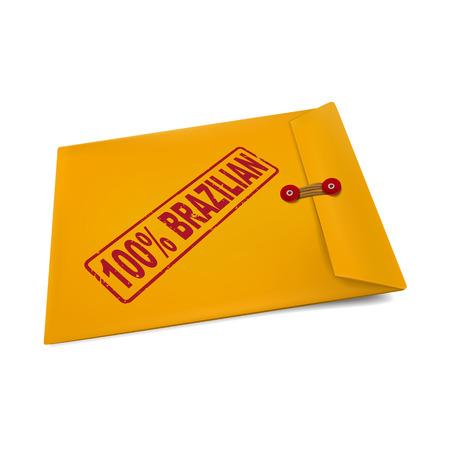 100 percent Brazilian stamp on manila envelope isolated on white Vector