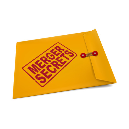 merger: merger secrets on manila envelope isolated on white