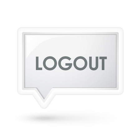 logout: logout word on a  speech bubble over white