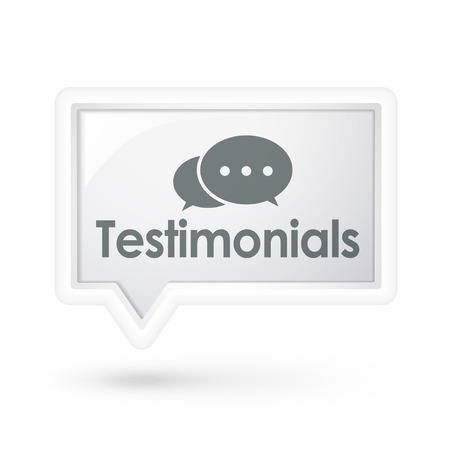 testimonials word on a speech bubble over white Vector