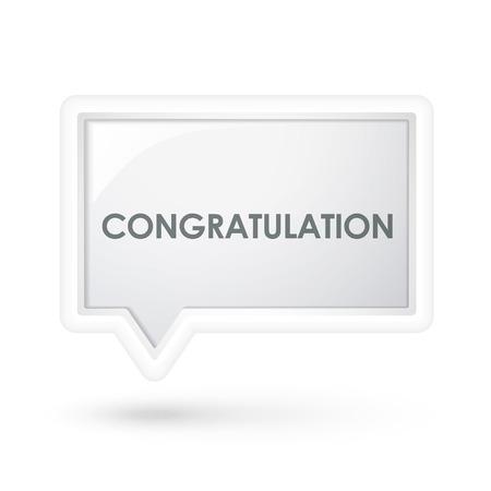 congratulation word on a speech bubble over white