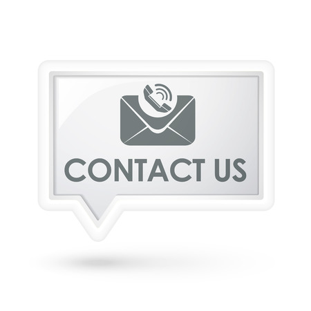 contact us words with mail icon on a speech bubble over white