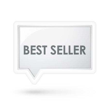 praised: best seller words icon on a speech bubble over white Illustration