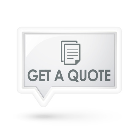 get in shape: get a quote with document icon on a speech bubble over white Illustration