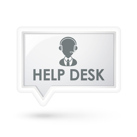 help desk with service icon on a speech bubble over white Illustration