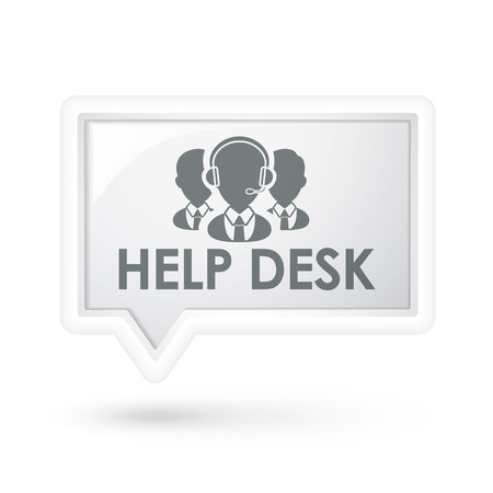 help desk with services icon on a speech bubble over white