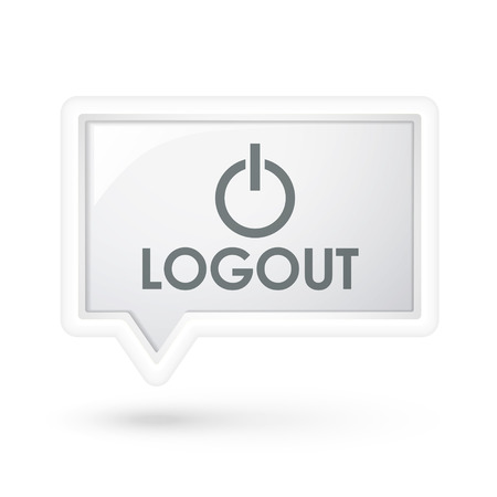 shut out: logout icon on a speech bubble over white