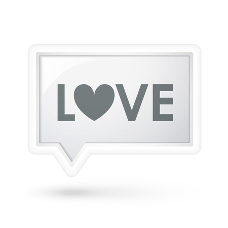 to adore: love word on a speech bubble over white Illustration