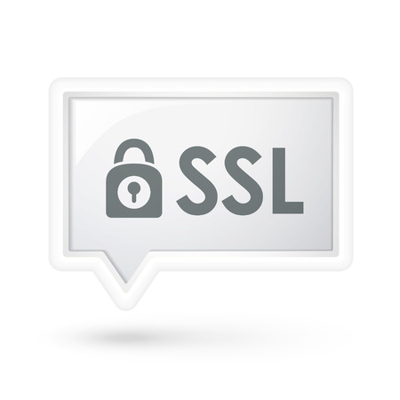 ssl: SSL with padlock icon on a speech bubble over white Illustration