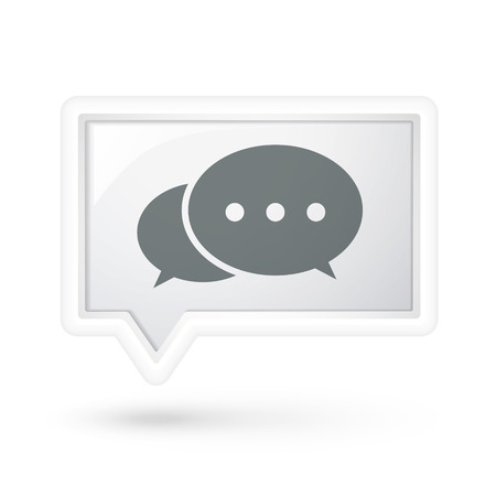 authenticate: comment icon on a speech bubble over white