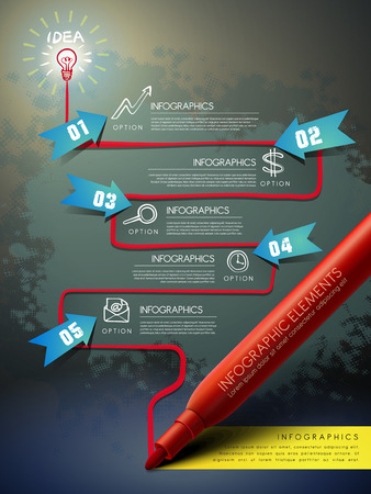 mark pen: creative template with red mark pen drawing flow chart infographic  Illustration