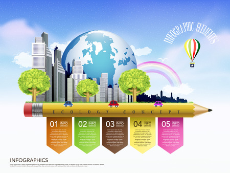 creative template of ecology concept with pencil flow chart infographic  Ilustração