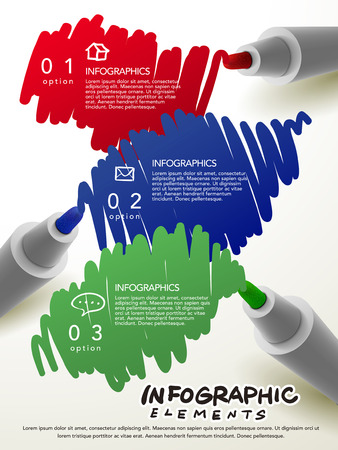 mark pen: creative template with different colors mark pen writing something infographic