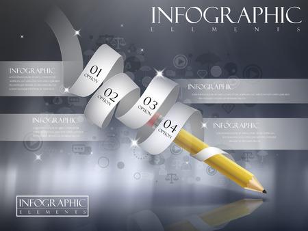 pensamiento creativo: plantilla de creatividad con el lápiz y cinta brillante diagrama de flujo infografía