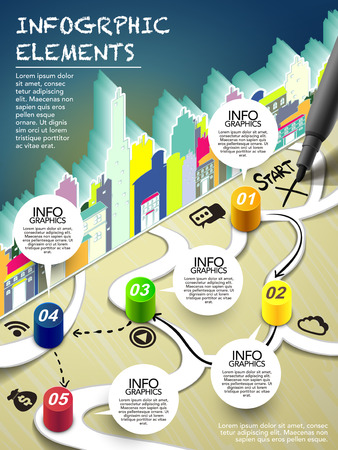 monopoly style infographic with pen writing start on map flow chart Vector