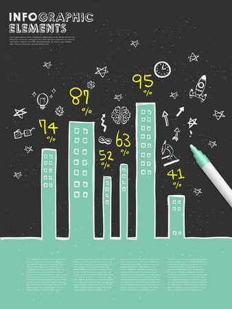 hand drawn style template infographic with building chart and mark pen  Vector