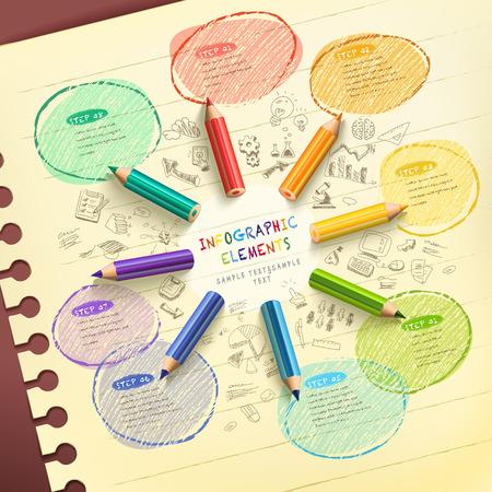 creative template infographic with colorful pencils drawing flow chart over hand drawn background Vectores