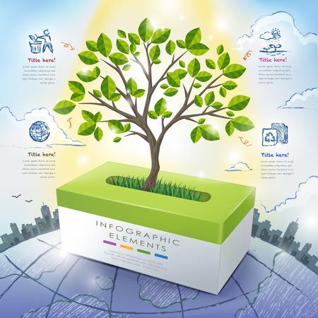 el concepto de ecología infografía plantilla con árboles que crecen a partir de la caja del tejido Ilustración de vector