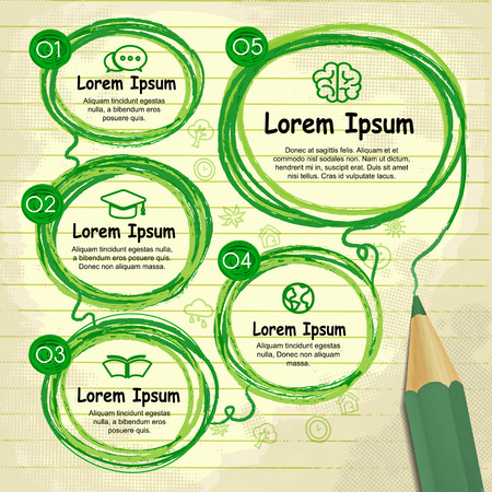 writing lines: creative template infographic with green pencil drawing flow chart over note paper
