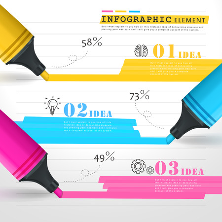 creative thinking: creative template infographic with colorful marks drawing lines over note paper