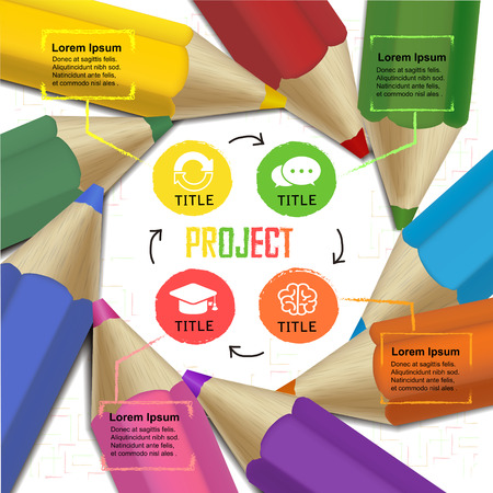 creative template infographic with colorful pencils and flow chart over white background