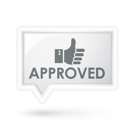 affirmed: approved word with hand sign on a speech bubble over white