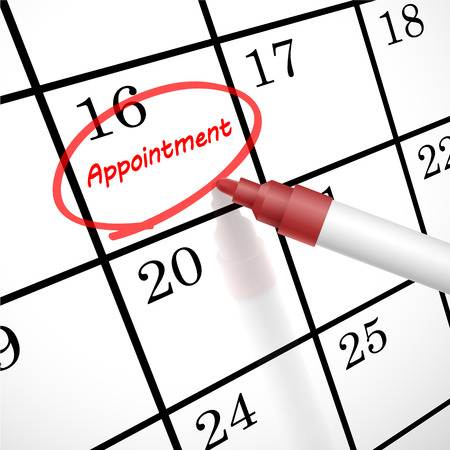 appointment word circle marked on a calendar by a red pen Illustration