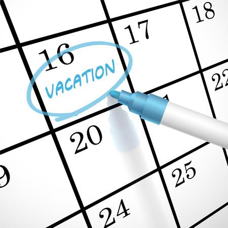 vacaciones de la palabra círculo marcado en un calendario por una pluma azul