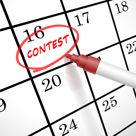 event calendar: contest word circle marked on a calendar by a red pen