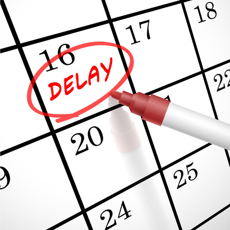 tardiness: delay word circle marked on a calendar by a red pen