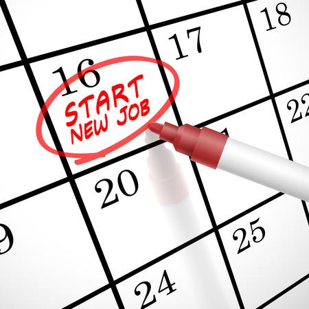Avviare nuove parole lavoro cerchio segnato sul calendario da una penna rossa Archivio Fotografico - 30903004
