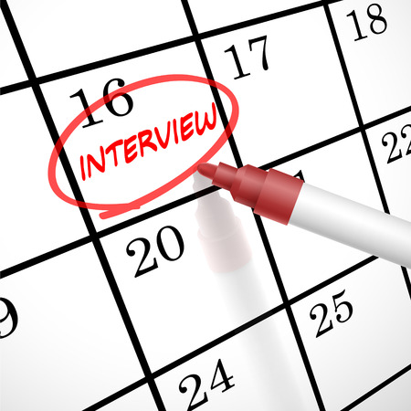 contracted: interview word circle marked on a calendar by a red pen