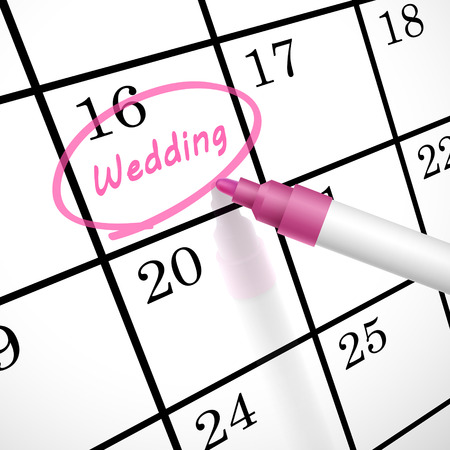 marked: wedding word circle marked on a calendar by a pink pen