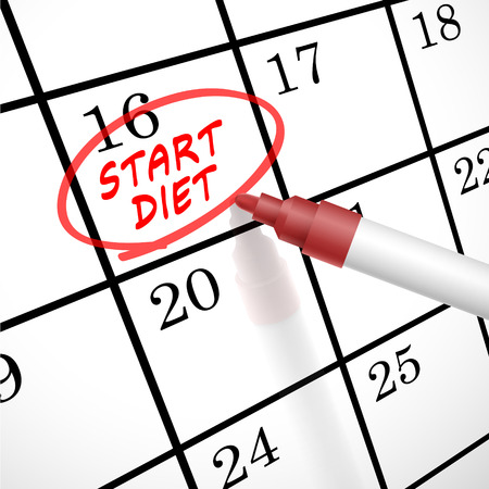 calender: start diet words circle marked on a calendar by a red pen