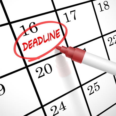 delinquent: deadline word circle marked on a calendar by a red pen