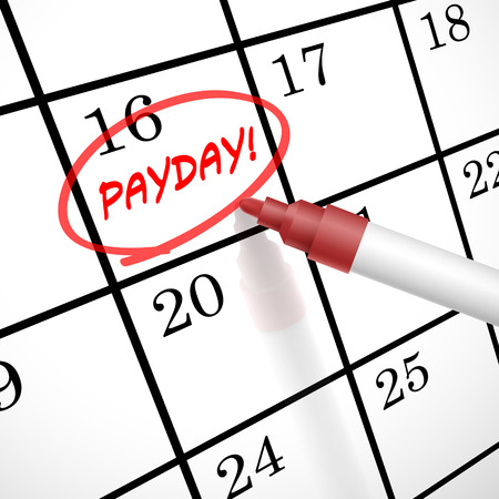 liquidate: payday word circle marked on a calendar by a red pen