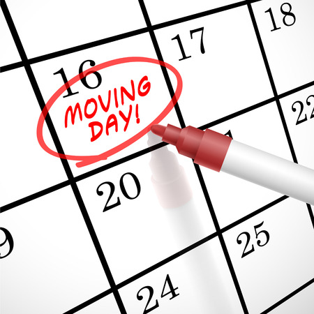 moving day words circle marked on a calendar by a red pen Illustration