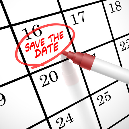 save the date words circle marked on a calendar by a red pen Vettoriali