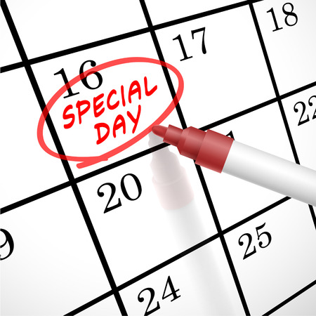special events: special day words circle marked on a calendar by a red pen Illustration