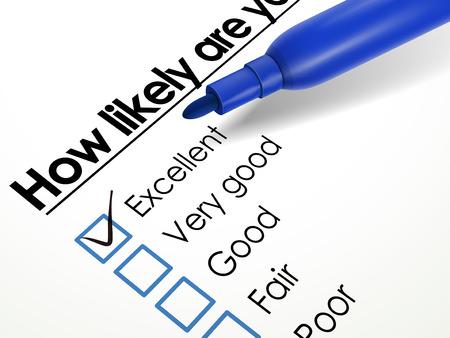 Häkchen ausgezeichnete Kontrollkästchen mit blauen Stift über Fragebogen platziert