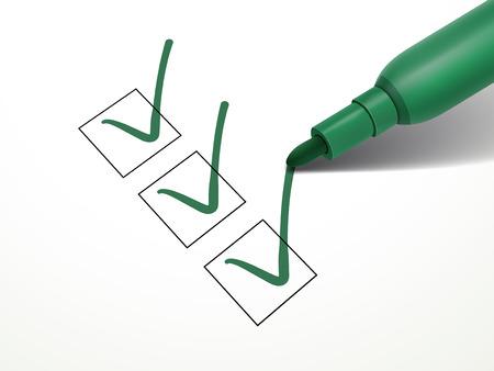 근접 흰 종이 위에 체크 박스에 표시하는 녹색 펜을보고