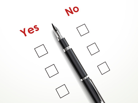 yes no check box with a pen over white paper Vector