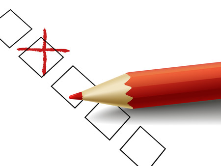 cross drawn by red pencil over questionnaire  Vector